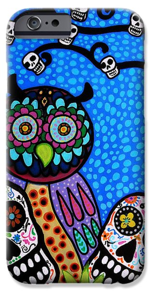 Owl And Sugar Day Of The Dead IPhone Case by Pristine Cartera Turkus