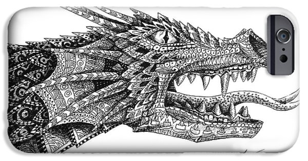 IPhone 6s Case featuring the drawing Pattern Design Dragon by Aaron Spong