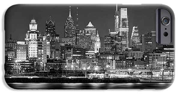 Philadelphia iPhone 6s Case - Philadelphia Philly Skyline At Night From East Black And White Bw by Jon Holiday