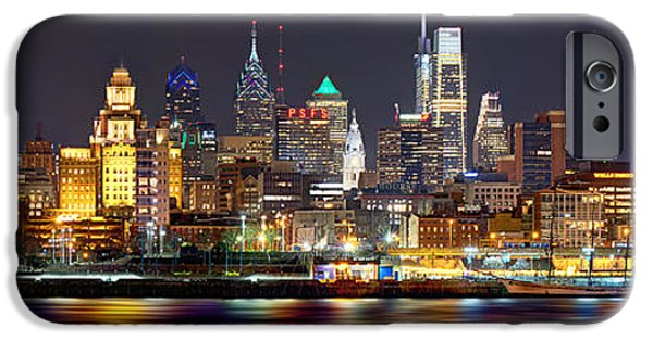 Cities iPhone 6s Case - Philadelphia Philly Skyline At Night From East Color by Jon Holiday