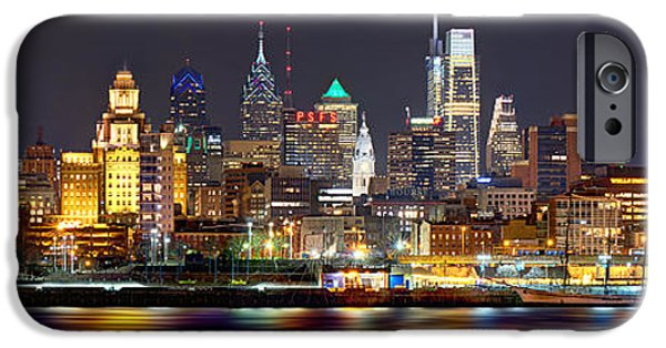 City Scenes iPhone 6s Case - Philadelphia Philly Skyline At Night From East Color by Jon Holiday