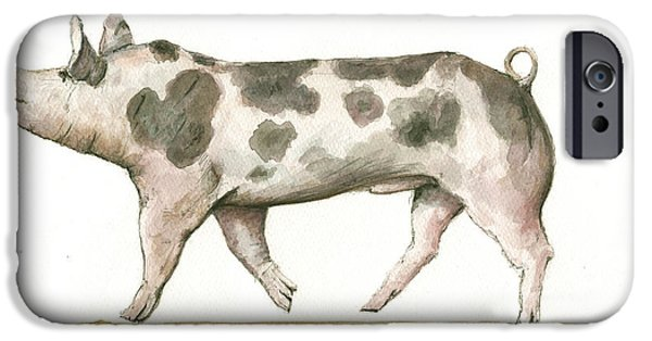 Pig iPhone 6s Case - Pietrain Pig by Juan Bosco