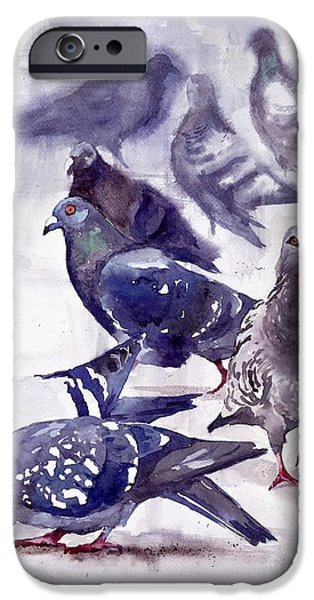 Pigeon iPhone 6s Case - Pigeons Watercolor by Suzann's Art