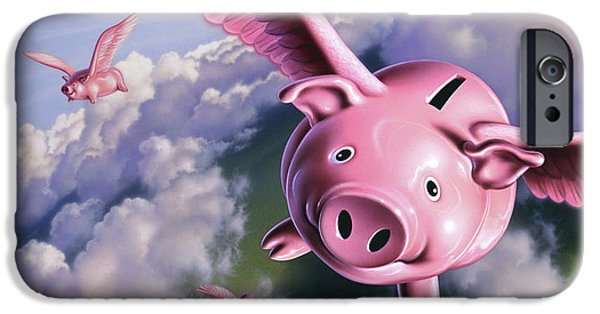 Pig iPhone 6s Case - Pigs Away by Jerry LoFaro