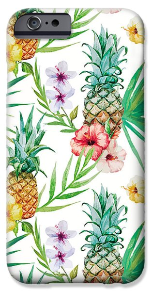Pineapple iPhone 6s Case - Pineapple And Tropical Flowers by Vitor Costa