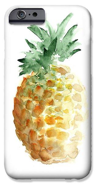 Pineapple iPhone 6s Case - Pineapple Watercolor Minimalist Painting by Joanna Szmerdt