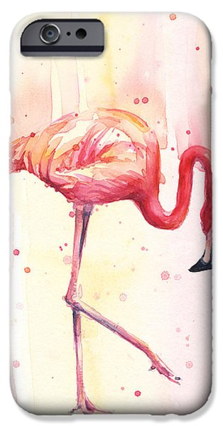 Pink Flamingo Watercolor Rain IPhone 6s Case