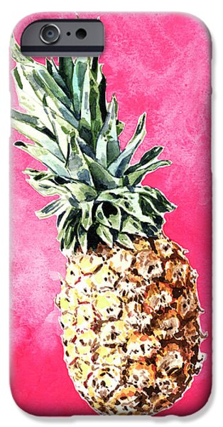 Pink Pineapple Bright Fruit Still Life Healthy Living Yoga Inspiration Tropical Island Kawaii Cute IPhone 6s Case by Laura Row
