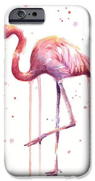 Flamingo iPhone 6s Case - Pink Watercolor Flamingo by Olga Shvartsur