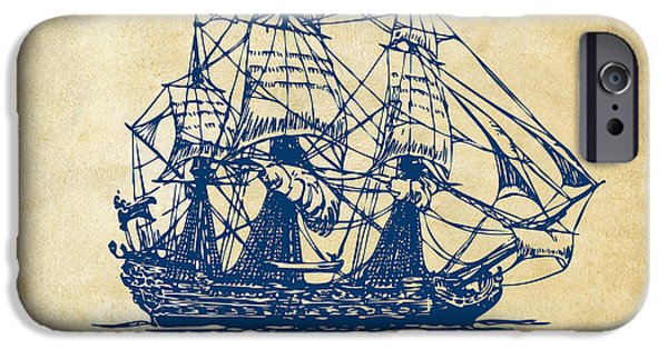 Pirate Ship Artwork - Vintage IPhone Case by Nikki Marie Smith
