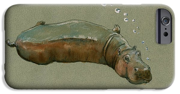 Playing Hippo IPhone 6s Case by Juan  Bosco