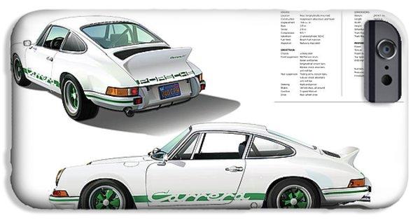 Digital Image iPhone 6s Case - Porsche 911 Carrera Rs Illustration by Alain Jamar