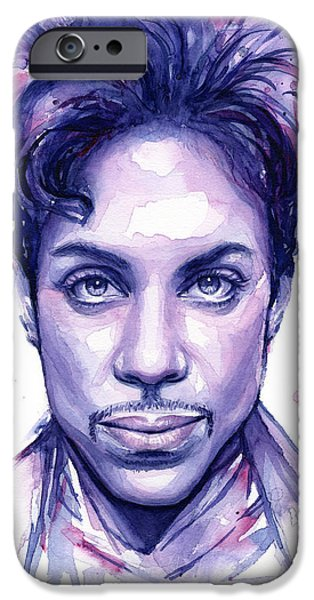 Musicians iPhone 6s Case - Prince Purple Watercolor by Olga Shvartsur