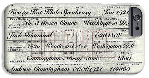 IPhone 6s Case featuring the photograph Prohibition Prescription Certificate Krazy Kat Klub by David Patterson