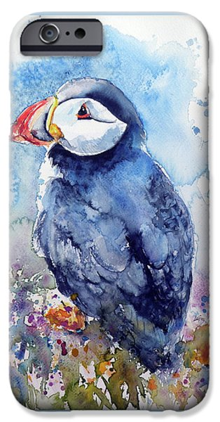Puffin iPhone 6s Case - Puffin With Flowers by Kovacs Anna Brigitta