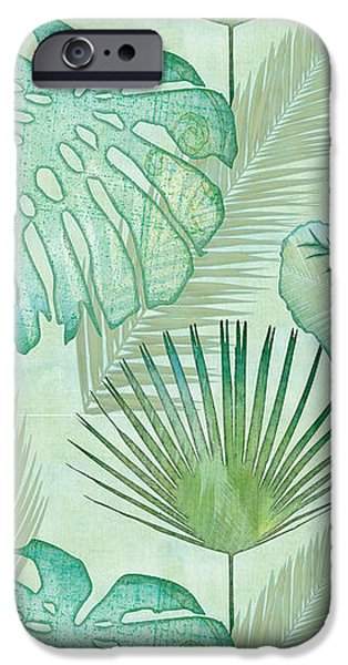 Beach iPhone 6s Case - Rainforest Tropical - Elephant Ear And Fan Palm Leaves Repeat Pattern by Audrey Jeanne Roberts