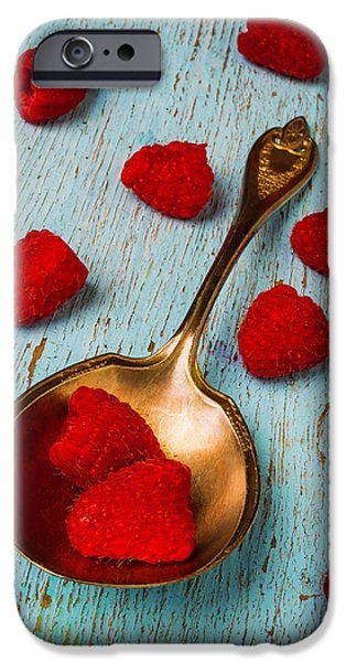 Raspberries With Antique Spoon IPhone 6s Case by Garry Gay