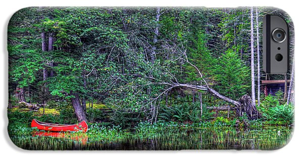IPhone 6s Case featuring the photograph Red Canoe Among The Reeds by David Patterson