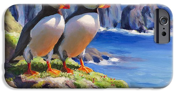 Puffin iPhone 6s Case - Reflecting - Horned Puffins - Coastal Alaska Landscape by Karen Whitworth
