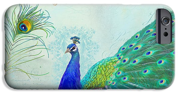Peacock iPhone 6s Case - Regal Peacock 2 W Feather N Gold Leaf French Style by Audrey Jeanne Roberts