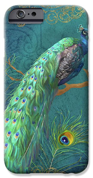 Peacock iPhone 6s Case - Regal Peacock 3 Midnight by Audrey Jeanne Roberts