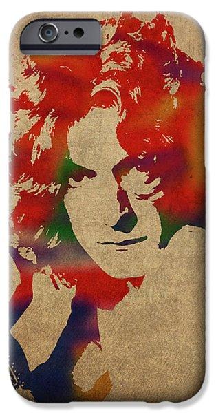 Robert Plant iPhone 6s Case - Robert Plant Led Zeppelin Watercolor Portrait by Design Turnpike