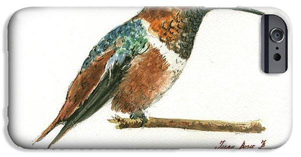 Hummingbird iPhone 6s Case - Rufous Hummingbird Watercolor by Juan Bosco