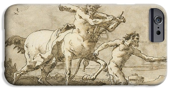 Centaur iPhone 6s Case - Satyr Leading A Centaur, Who Carries A Club, Bow And Quiver, Outside The Walls Of A City by Giovanni Domenico Tiepolo