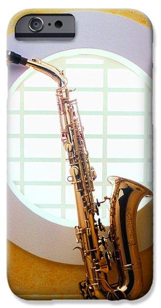 Saxophone iPhone 6s Case - Saxophone In Round Window by Garry Gay