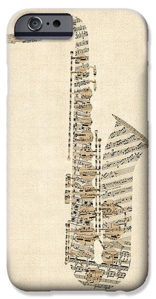 Saxophone iPhone 6s Case - Saxophone Old Sheet Music by Michael Tompsett