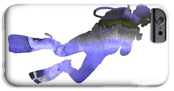Scuba Diving iPhone 6s Case - Scuba Diver Watercolor Silhouette by Joanna Szmerdt