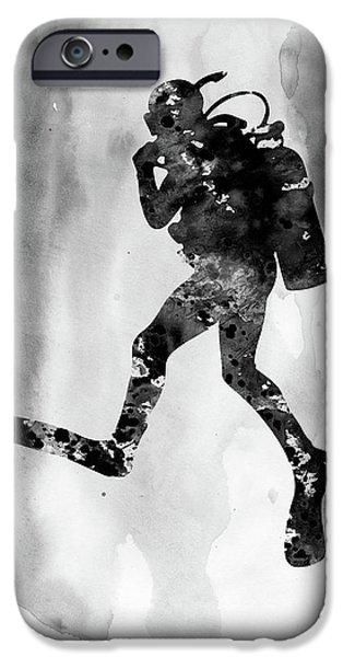Scuba Diving iPhone 6s Case - Scuba Diving-black by Erzebet S