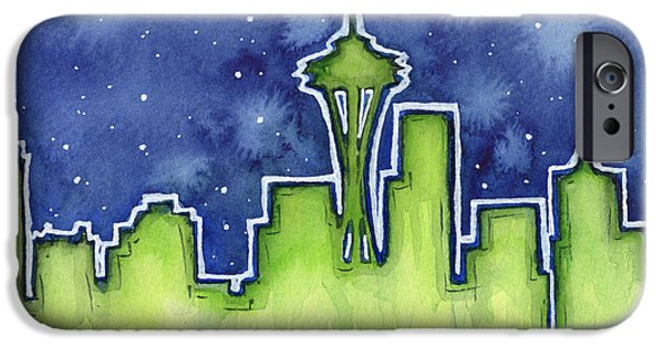 Seattle Skyline iPhone 6s Case - Seattle Night Sky Watercolor by Olga Shvartsur