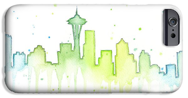 City Scenes iPhone 6s Case - Seattle Skyline Watercolor  by Olga Shvartsur
