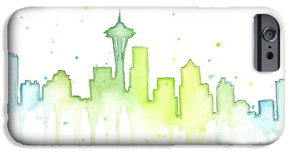 Seattle Skyline Watercolor  IPhone 6s Case by Olga Shvartsur