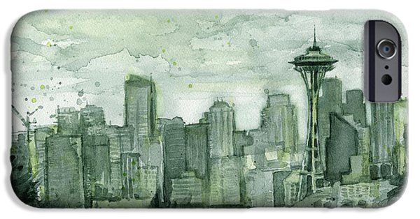 Seattle Skyline iPhone 6s Case - Seattle Skyline Watercolor Space Needle by Olga Shvartsur