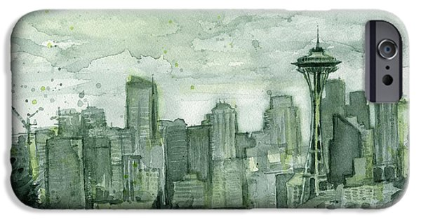 City Scenes iPhone 6s Case - Seattle Skyline Watercolor Space Needle by Olga Shvartsur