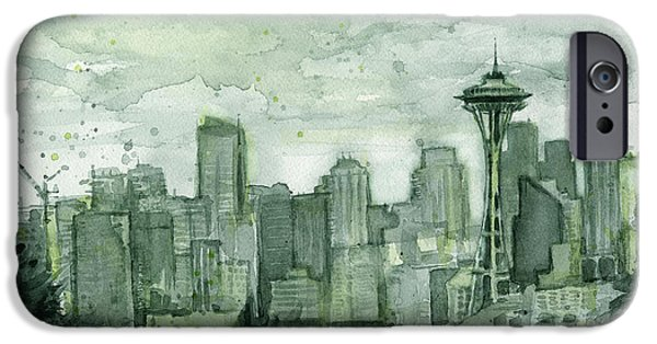Seattle Skyline Watercolor Space Needle IPhone 6s Case by Olga Shvartsur