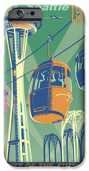 Seattle Space Needle 1962 - Alternate IPhone Case by Jim Zahniser