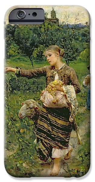 Rural Scenes iPhone 6s Case - Shepherdess Carrying A Bunch Of Grapes by Francesco Paolo Michetti