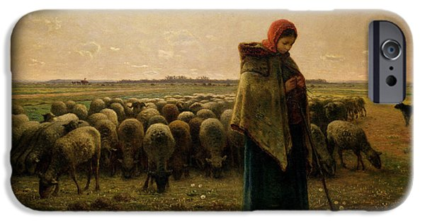 Rural Scenes iPhone 6s Case - Shepherdess With Her Flock by Jean Francois Millet