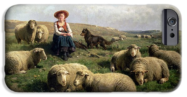 Rural Scenes iPhone 6s Case - Shepherdess With Sheep In A Landscape by C Leemputten and T Gerard