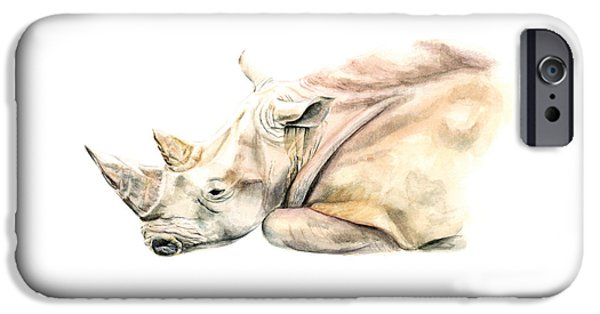 Rhinocerus iPhone 6s Case - Small Colour Rhino by Elizabeth Lock