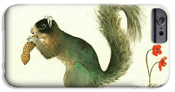 Squirrel iPhone 6s Case - Southern Fox Squirrel Peanut by Juan Bosco