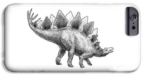 Spike The Stegosaurus - Black And White Dinosaur Drawing IPhone 6s Case by Karen Whitworth