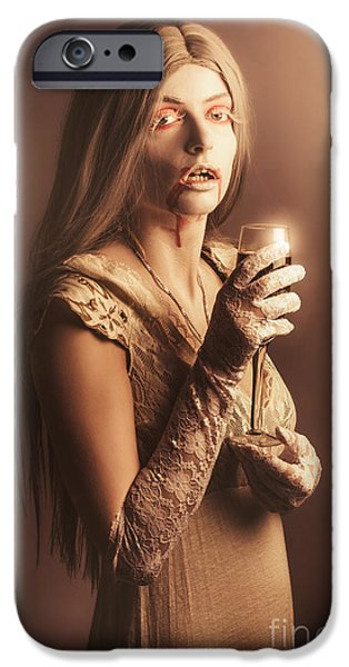 Spooky Vampire Girl Drinking A Glass Of Red Wine IPhone 6s Case by Jorgo Photography - Wall Art Gallery