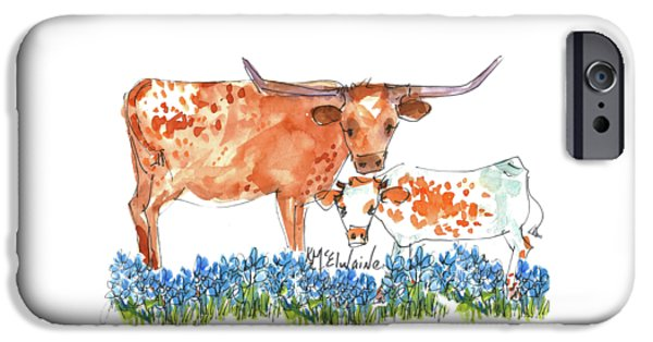 Cow iPhone 6s Case - Springs Surprise Watercolor Painting By Kmcelwaine by Kathleen McElwaine