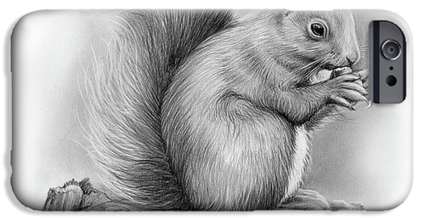 Pencil iPhone 6s Case - Squirrel by Greg Joens