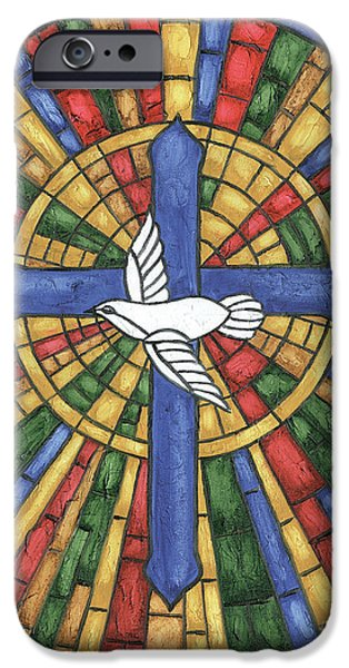 Dove iPhone 6s Case - Stained Glass Cross by Debbie DeWitt