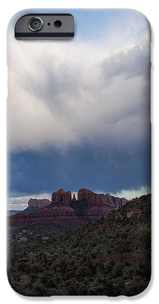 Storm Clouds Over Cathedral Rock IPhone Case by A O Tucker